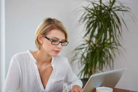 Young beautiful girl with a laptop at home photo