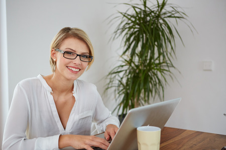 25 to 30: Young beautiful girl with a laptop at home