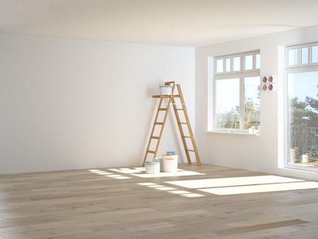 Malerei Wände im Zimmer mit Leiter. 3D-Rendering