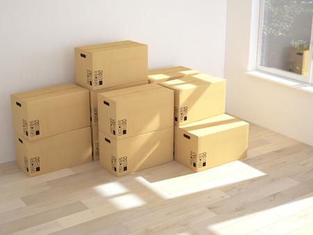 ボックスを移動すると 3 d のインテリア。3 d レンダリング 写真素材