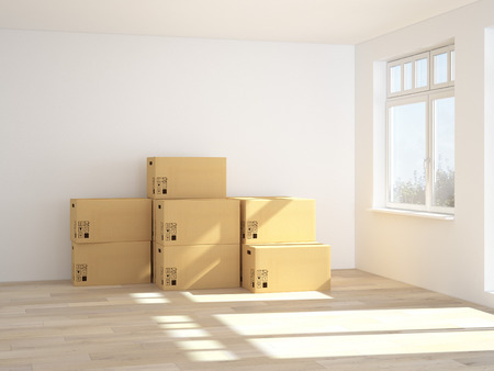 forwarding agency: 3d Interior with moving boxes. 3d rendering