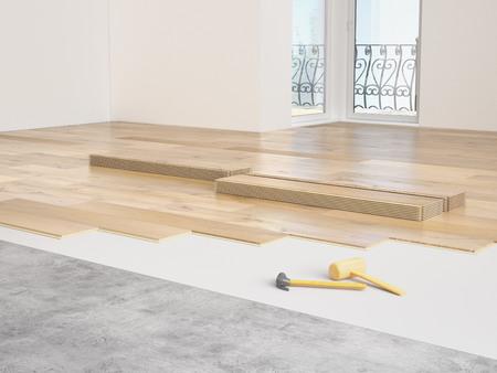 아파트의 고가의 현대화. 3D 렌더링