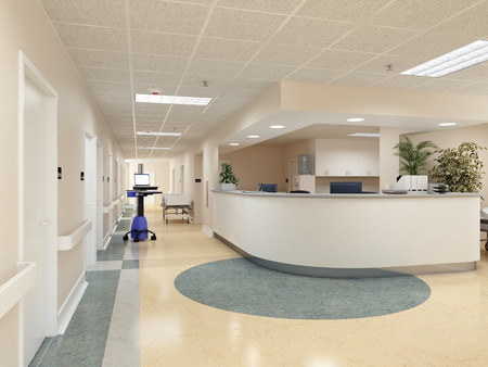 private hospital: a very clean hospital interior. 3d rendering Stock Photo