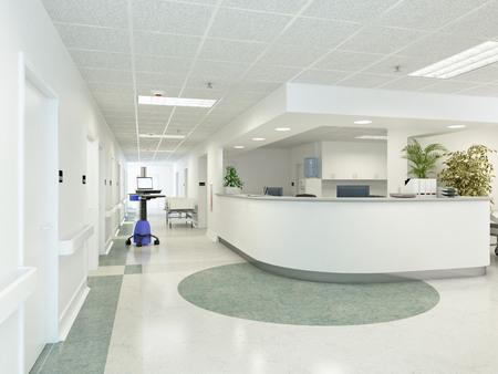 a very clean hospital interior. 3d rendering Standard-Bild