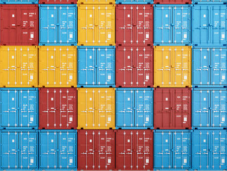 many colorful stacked Containers . 3d rendering Фото со стока - 40140179