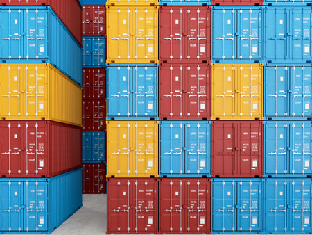 tonne: many colorful stacked Containers . 3d rendering