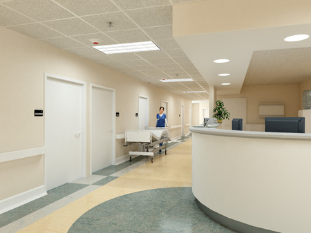 a very clean hospital interior. 3d rendering Stock Photo