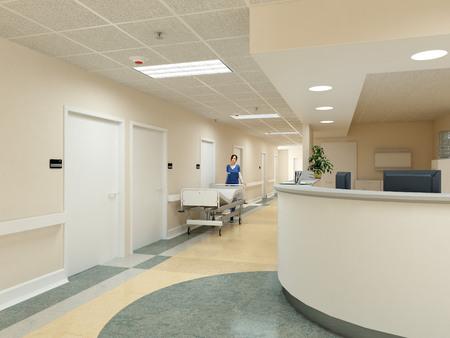 a very clean hospital interior. 3d rendering Foto de archivo
