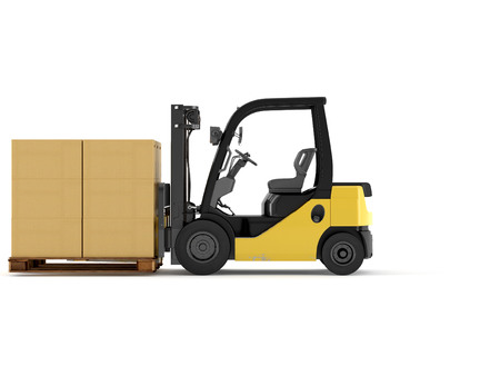 a forklift with a pallet boxes. isolated.3d rendering Stok Fotoğraf