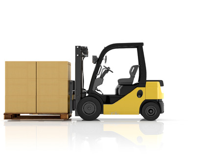 forklifts: a forklift with a pallet boxes. isolated.3d rendering Stock Photo
