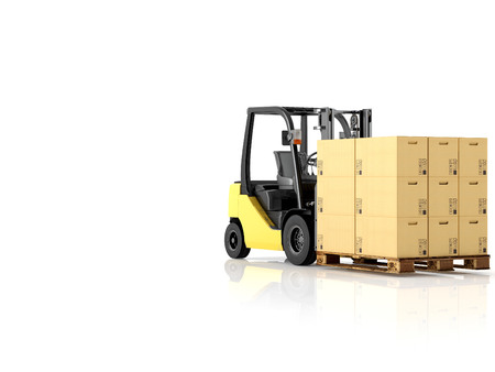 forwarding: a forklift with a pallet boxes. isolated.3d rendering Stock Photo