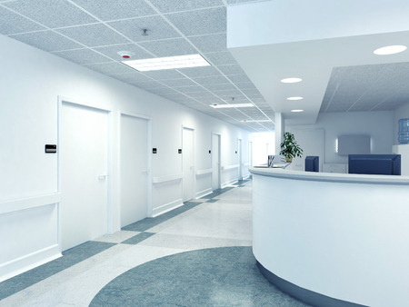 violated: a very clean hospital interior. 3d rendering Stock Photo