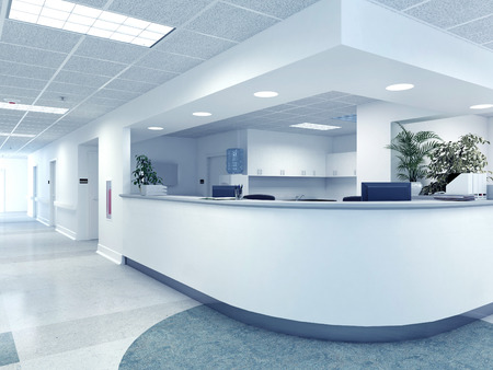 hospital interior: a very clean hospital interior. 3d rendering Stock Photo