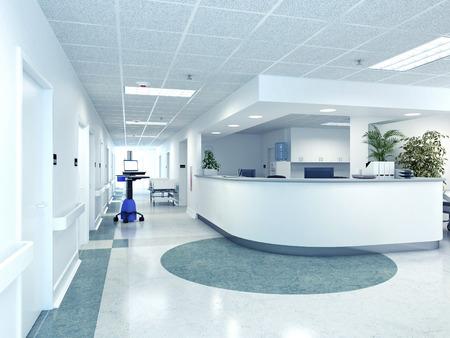 ein sehr sauberes Krankenhaus Interieur. 3D-Rendering Lizenzfreie Bilder