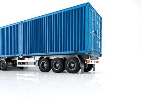 un camion avec un conteneur. Rendu 3d