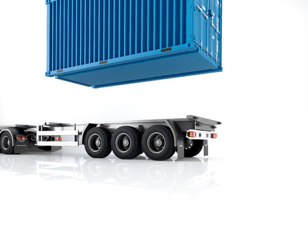 tonne: a truck with a container. 3d rendering Stock Photo