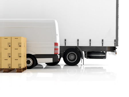 forwarding: a forklift loading a truck. 3d rendering Stock Photo