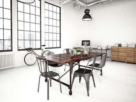 3d rendering of a modern industrial style loft 写真素材