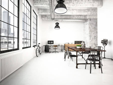 interior room: 3d rendering of a modern industrial style loft Stock Photo