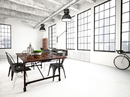 ceiling: 3d rendering of a modern industrial style loft Stock Photo