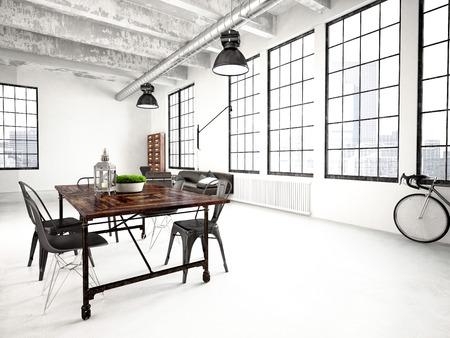 Representación 3D de un moderno loft de estilo industrial Foto de archivo - 40553390