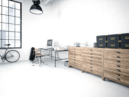 3d rendering of a modern industrial style loft Stock fotó