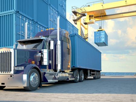 camion: Pila de contenedores de carga en los muelles con cami�n. Las 3D