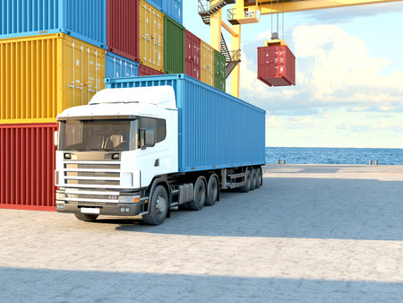 cargo container: Stack of Freight Containers at the Docks with Truck. 3d rendering