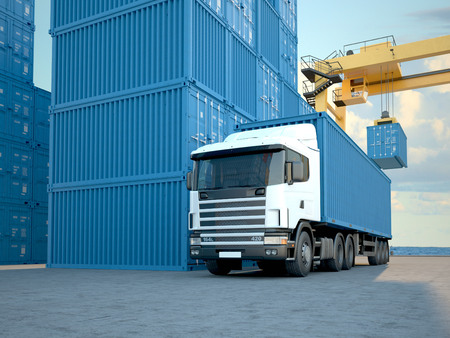 Stack of Freight Containers at the Docks with Truck. 3d rendering