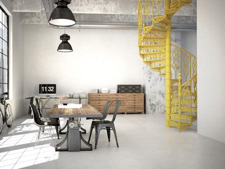 螺旋階段とモダンな loft.3d レンダリングのリビング ルーム