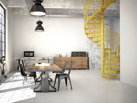 Spiral stairs and living room in modern loft.3d rendering Stock Photo
