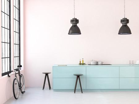 cocina antigua: interior, hermosa cocina de un viejo desván. Las 3D