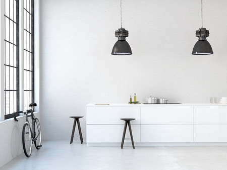 interior, beautiful kitchen of an old loft. 3d rendering Foto de archivo
