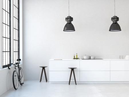 interieur, prachtige keuken van een oud loft. 3D-rendering Stockfoto