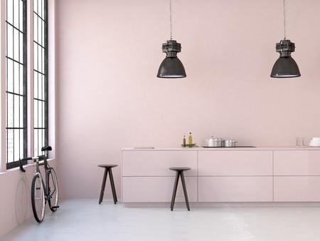 旧ロフトのインテリア、美しいキッチン。3 d レンダリング 写真素材