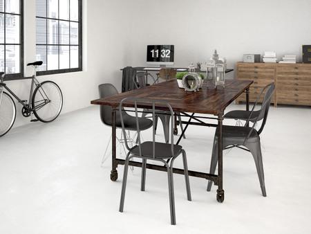 loft apartment: modern industrial loft with furniture. 3d rendering