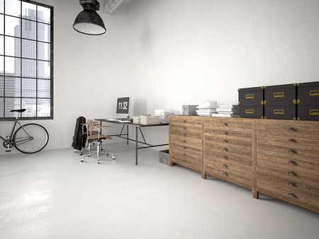 living room furniture: modern industrial loft with furniture. 3d rendering