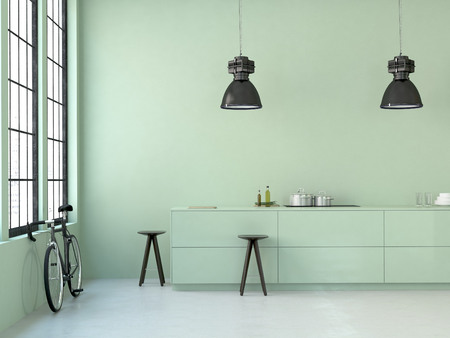 interior, beautiful kitchen of an old loft. 3d rendering Stock Photo