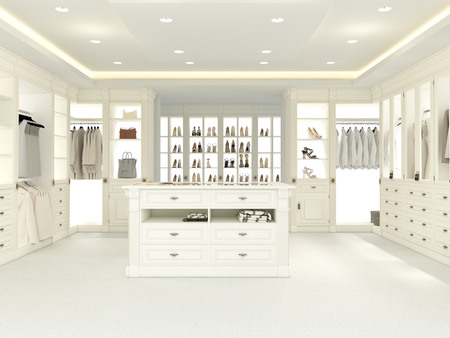 closet: an american luxury walkin closet with many space. 3d rendering