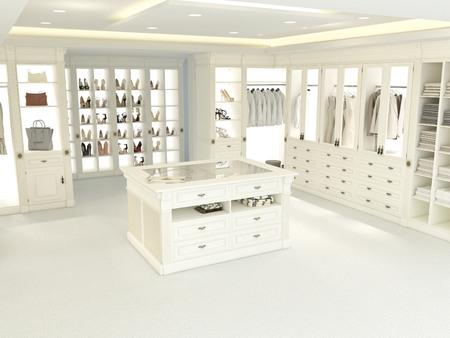 een Amerikaanse luxe inloopkast met veel ruimte. 3D-rendering Stockfoto