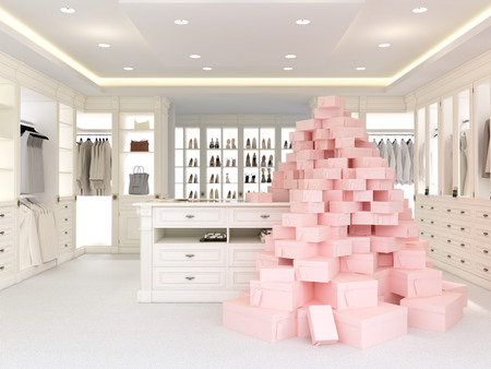 luxuriously: an american luxury walkin closet with many space. 3d rendering