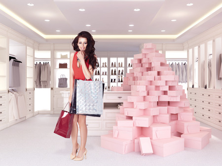 woman closet: woman in large bright closet. 3d rendering Stock Photo