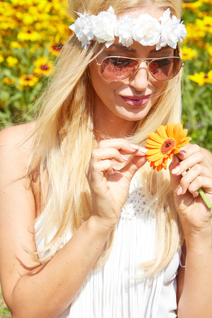 blond girl: Portrait of beautiful young girl outdoors in spring