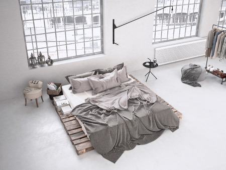 modernen Industrie Schlafzimmer in einem Loft. 3D-Rendering