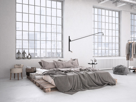 다락방에서 현대 산업 침실. 3D 렌더링