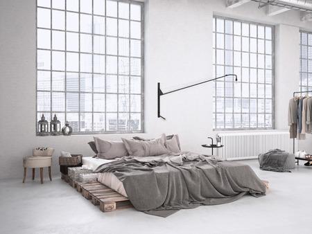 camera da letto moderna industriale in un loft. Rendering 3D