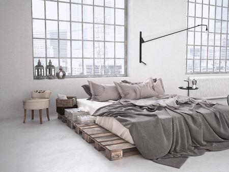 ロフトで現代産業の寝室。3 d レンダリング 写真素材 - 44243879