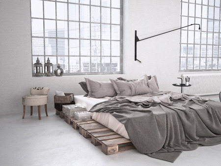 condominium: modern industrial bedroom in a loft. 3d rendering