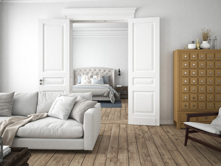 sofa of tissue in a modern living room. 3d rendering Foto de archivo