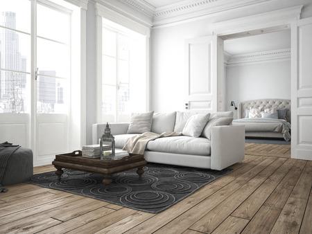 case moderne: divano di tessuto in un salotto moderno. Rendering 3D Archivio Fotografico